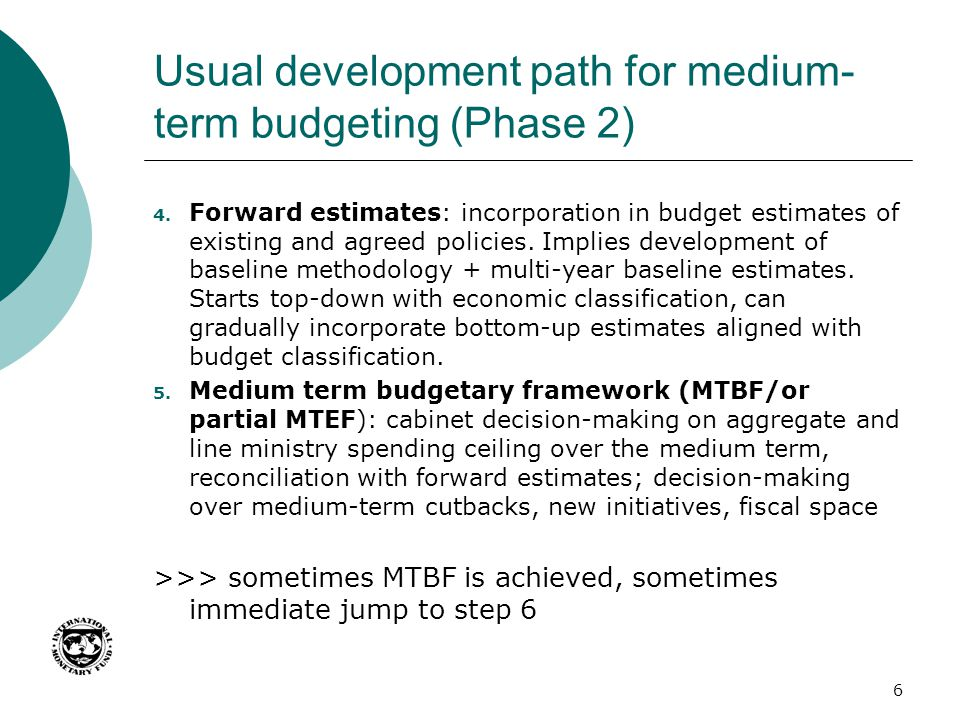 Usual development path for medium-term budgeting (Phase 2)