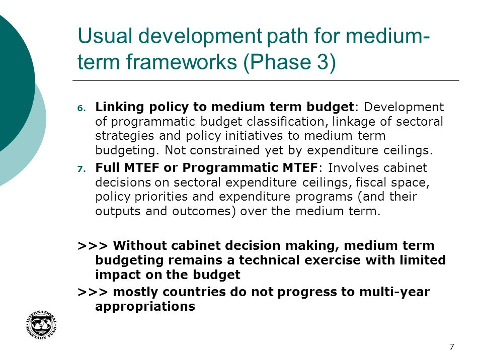 Usual development path for medium-term frameworks (Phase 3)