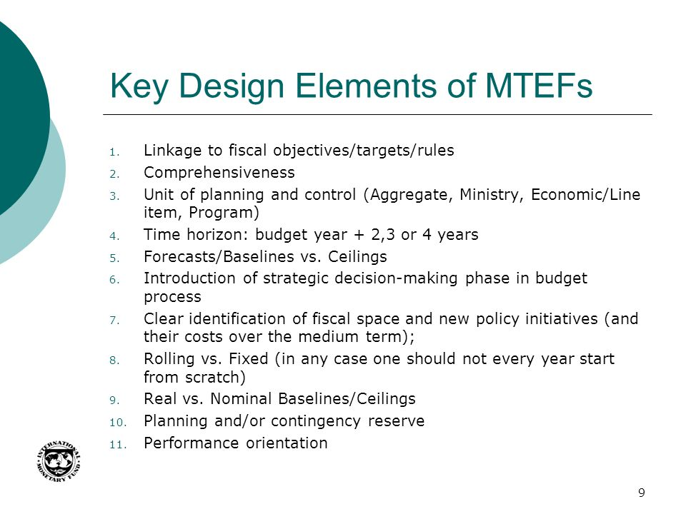Key Design Elements of MTEFs