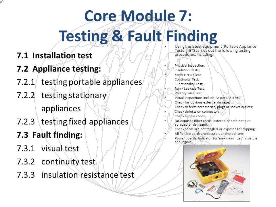 Core Module 7: Testing & Fault Finding