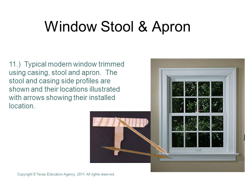 Window Stool & Apron 11.) Typical modern window trimmed