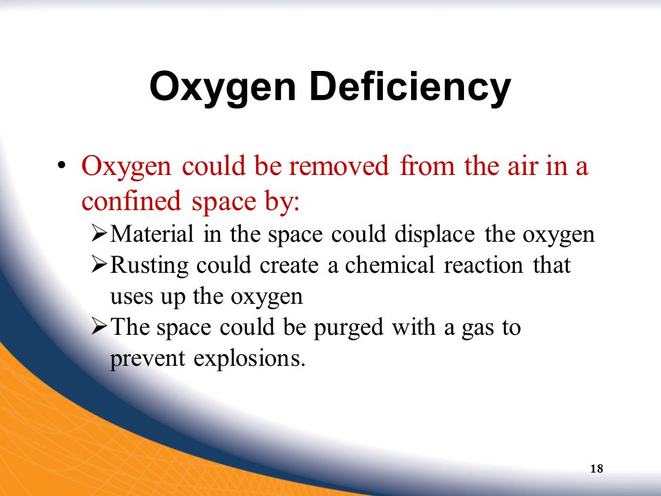 Oxygen Deficiency Oxygen could be removed from the air in a confined space by: Material in the space could displace the oxygen.