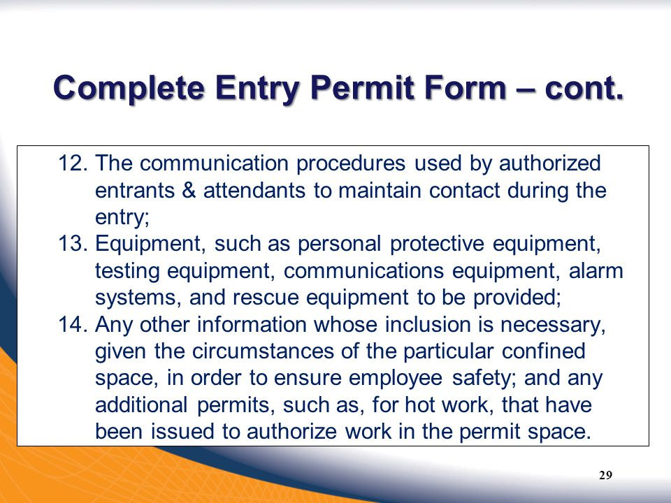 Complete Entry Permit Form – cont.