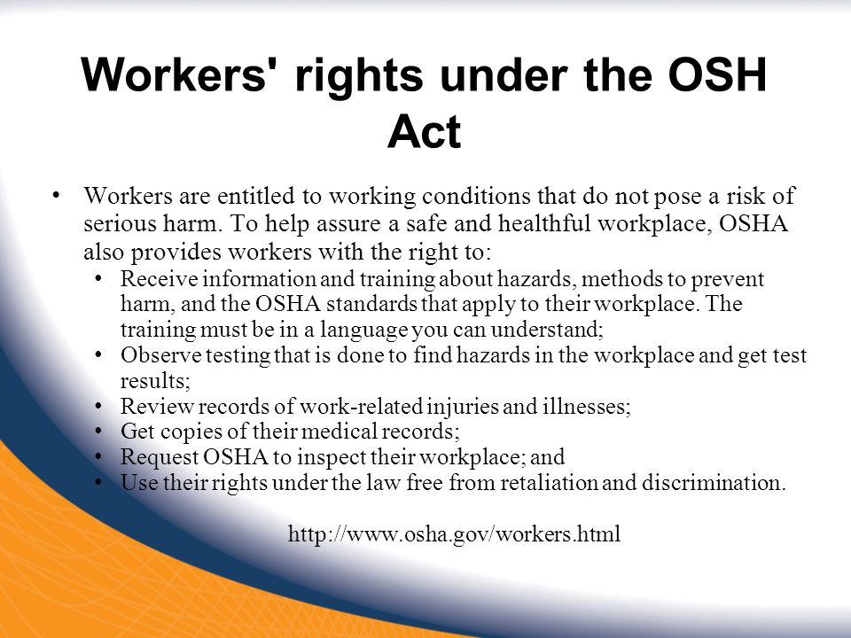 Workers rights under the OSH Act