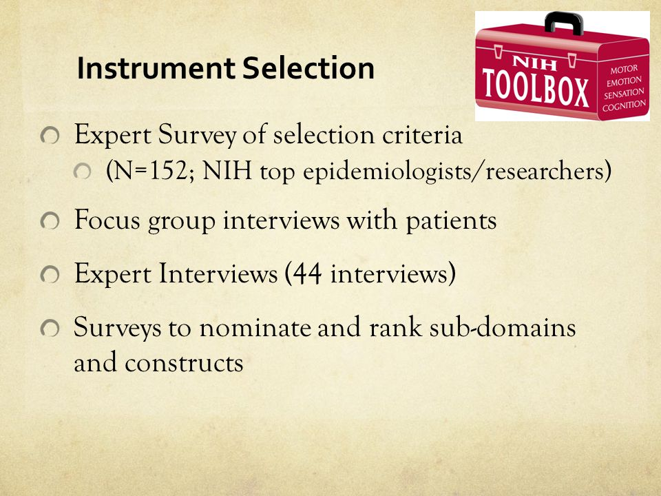 Instrument Selection Expert Survey of selection criteria
