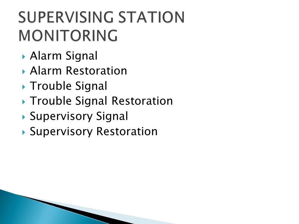 SUPERVISING STATION MONITORING