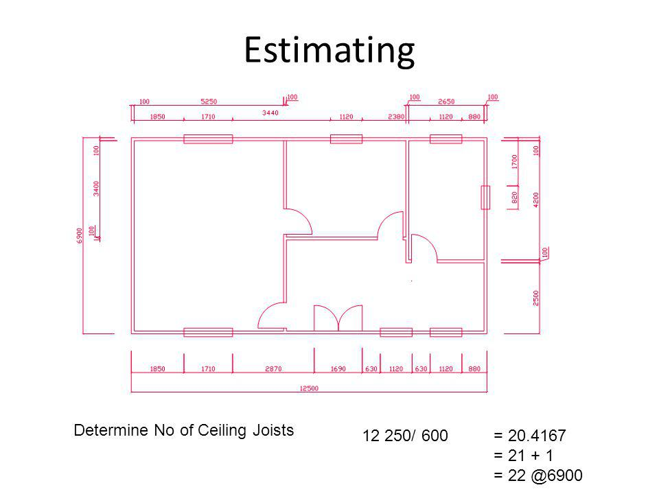 Estimating Determine No of Ceiling Joists 12 250/ 600 = 20.4167