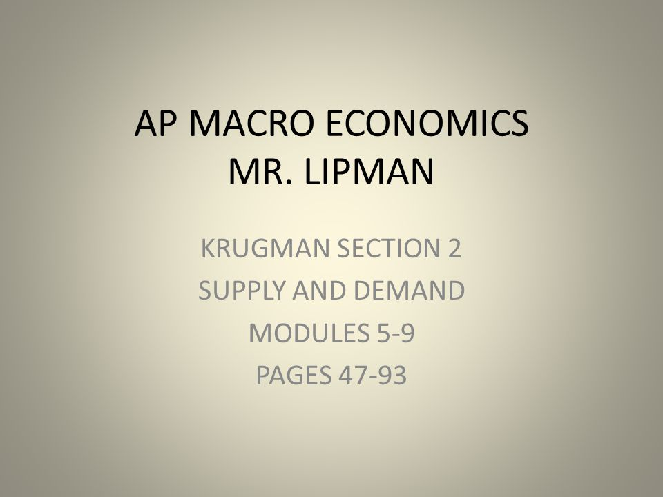AP MACRO ECONOMICS MR. LIPMAN