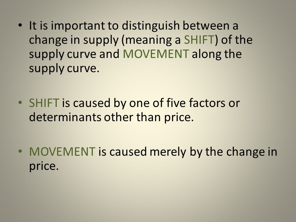 MOVEMENT is caused merely by the change in price.