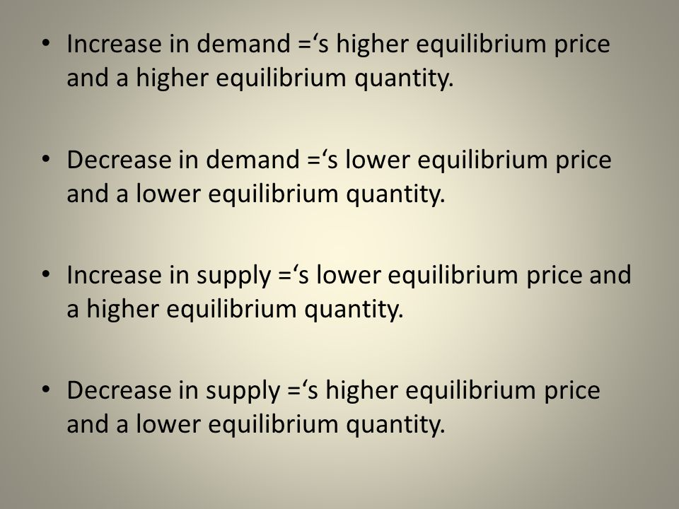 Increase in demand ='s higher equilibrium price and a higher equilibrium quantity.