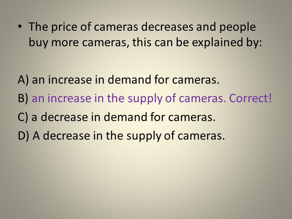 A) an increase in demand for cameras.
