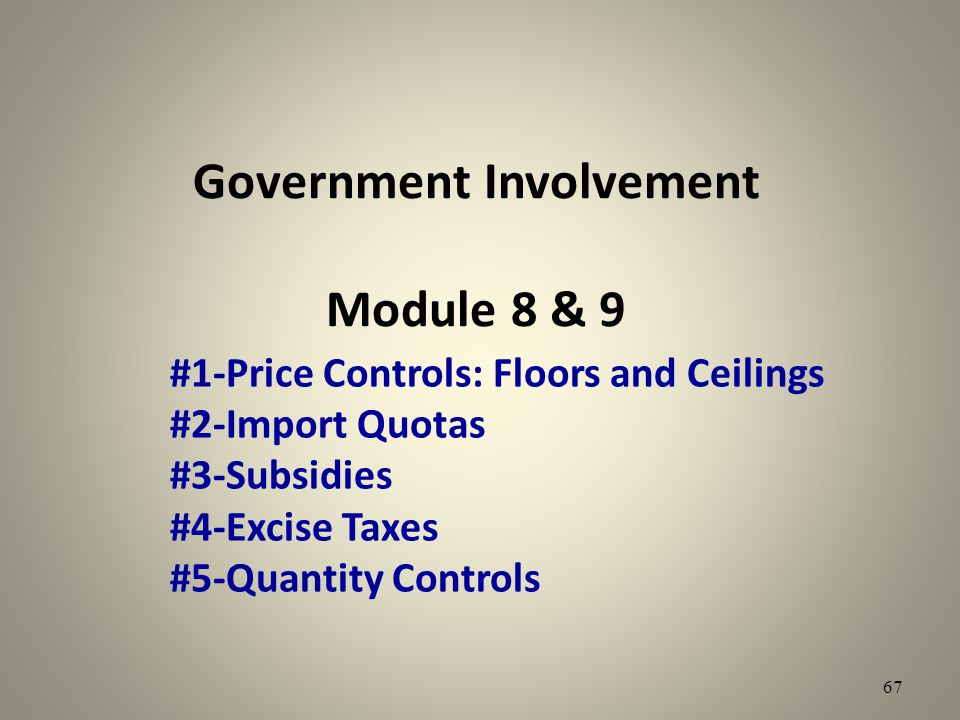 Government Involvement Module 8 & 9