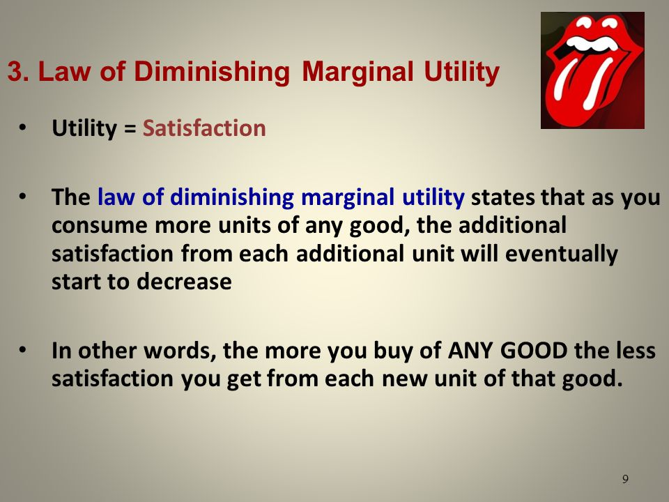 3. Law of Diminishing Marginal Utility