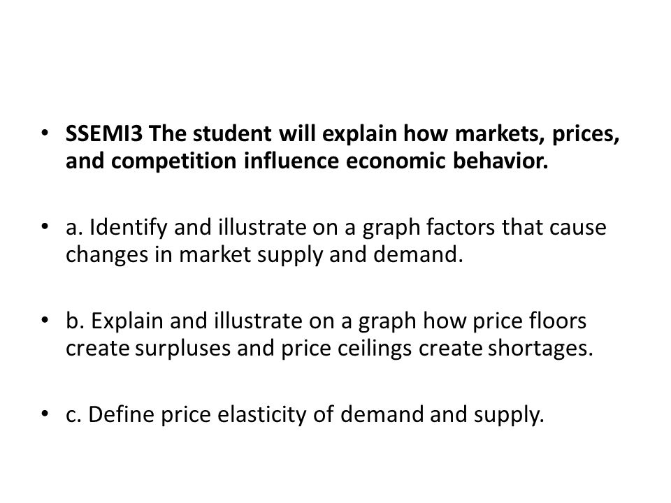 SSEMI3 The student will explain how markets, prices, and competition influence economic behavior.