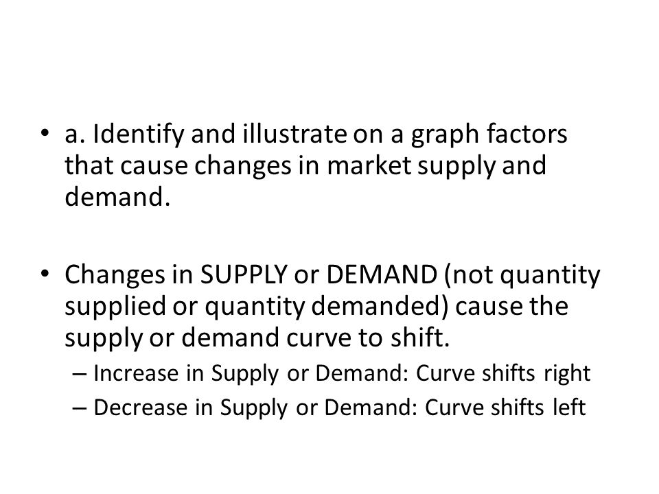 a. Identify and illustrate on a graph factors that cause changes in market supply and demand.