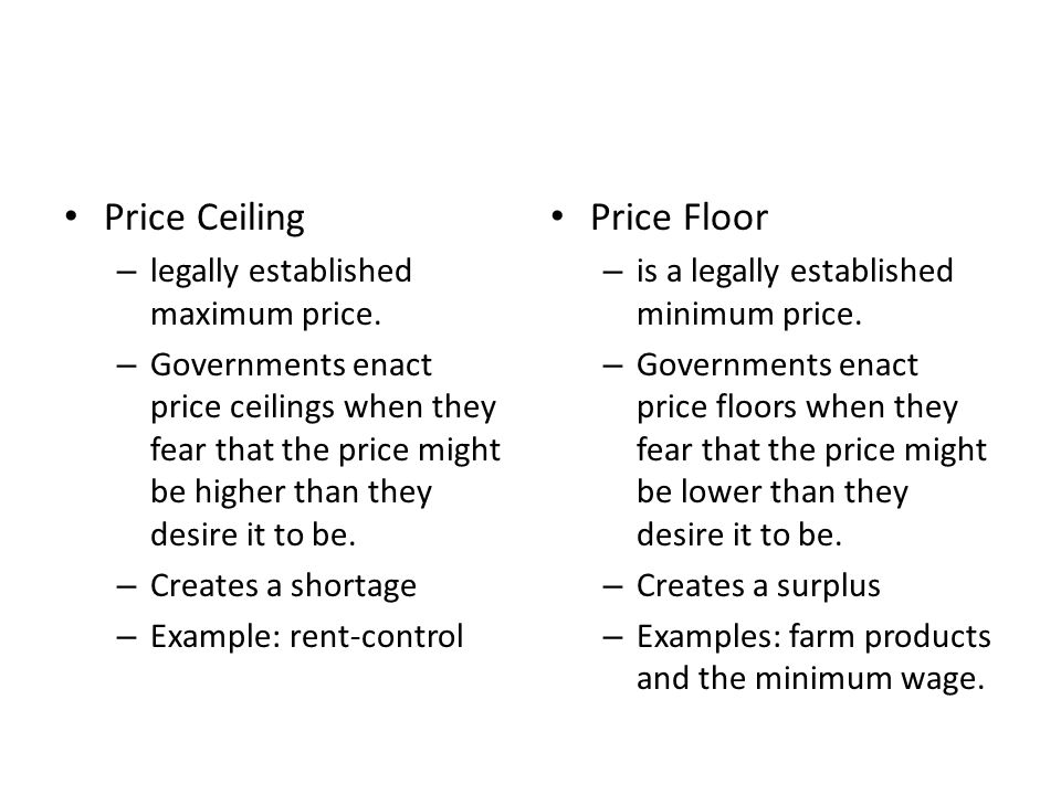 Price Ceiling Price Floor legally established maximum price.