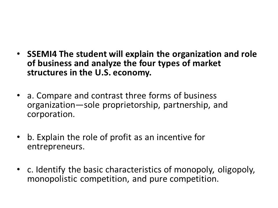 SSEMI4 The student will explain the organization and role of business and analyze the four types of market structures in the U.S. economy.