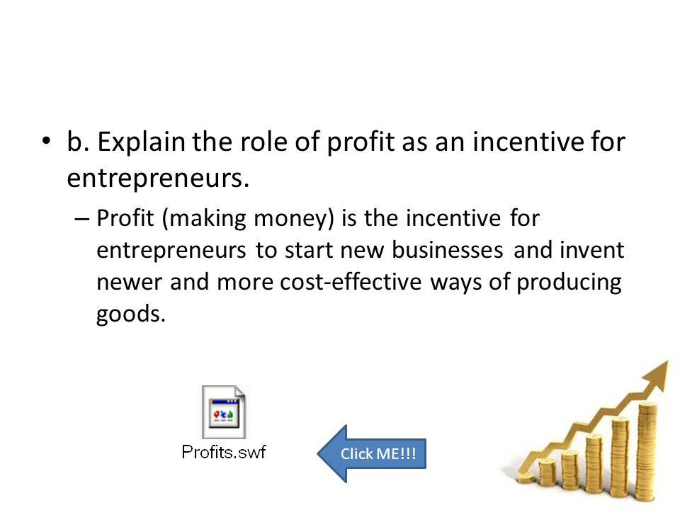 b. Explain the role of profit as an incentive for entrepreneurs.