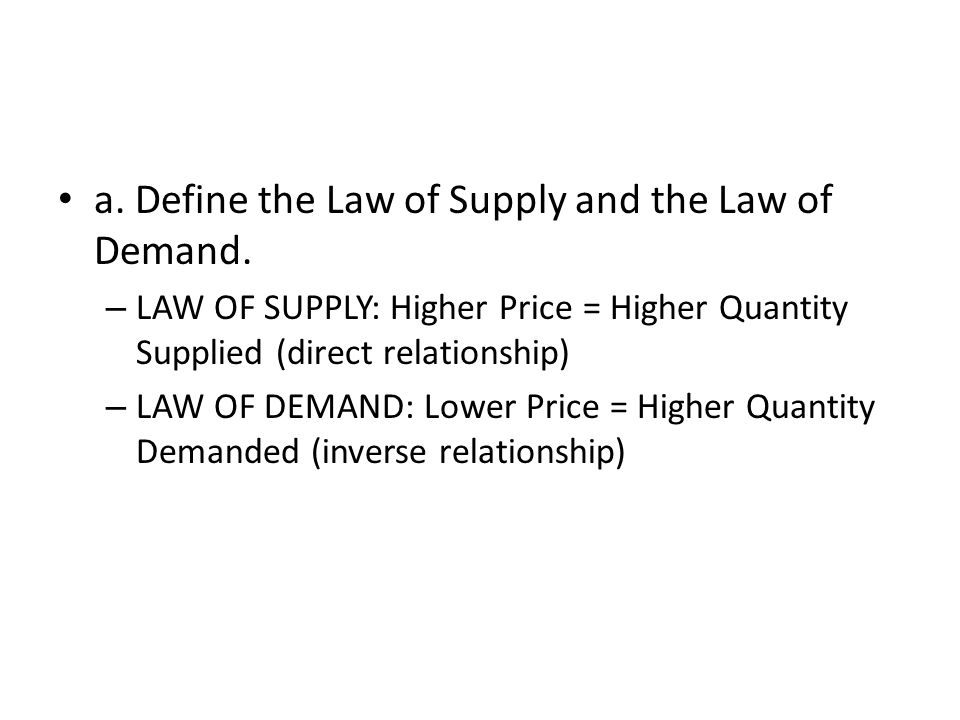a. Define the Law of Supply and the Law of Demand.