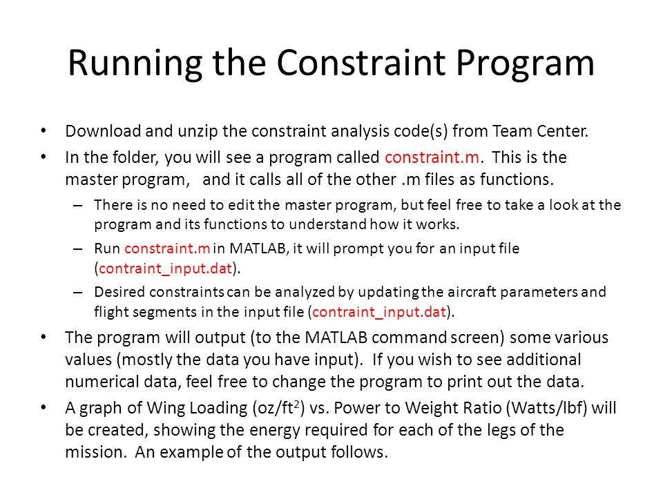 Running the Constraint Program