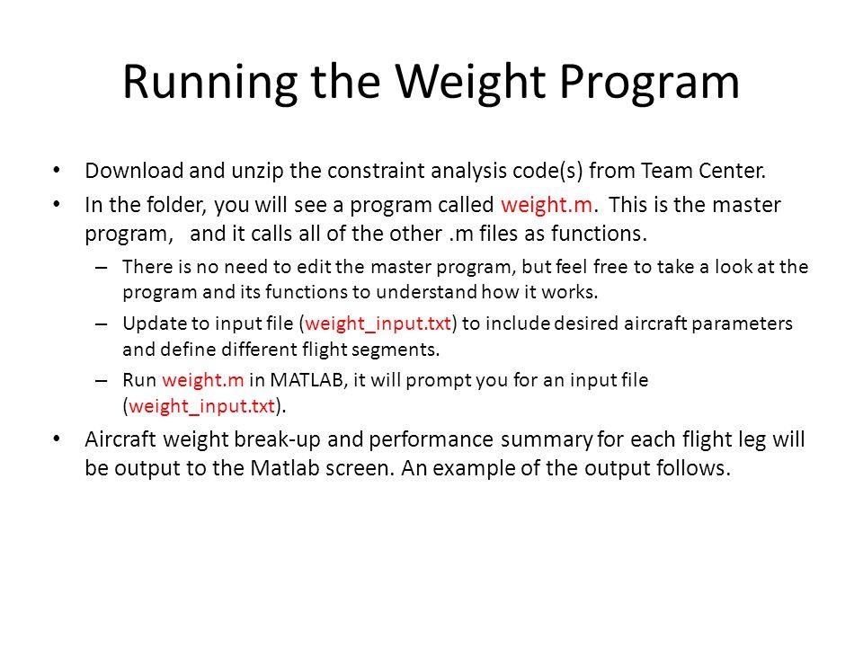 Running the Weight Program