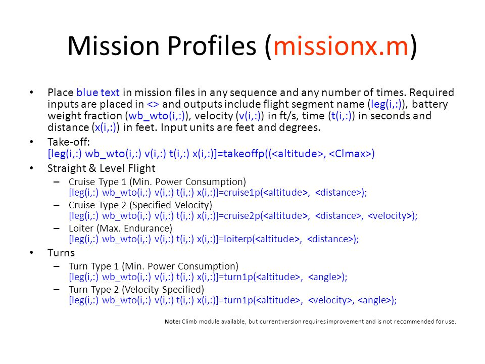 Mission Profiles (missionx.m)