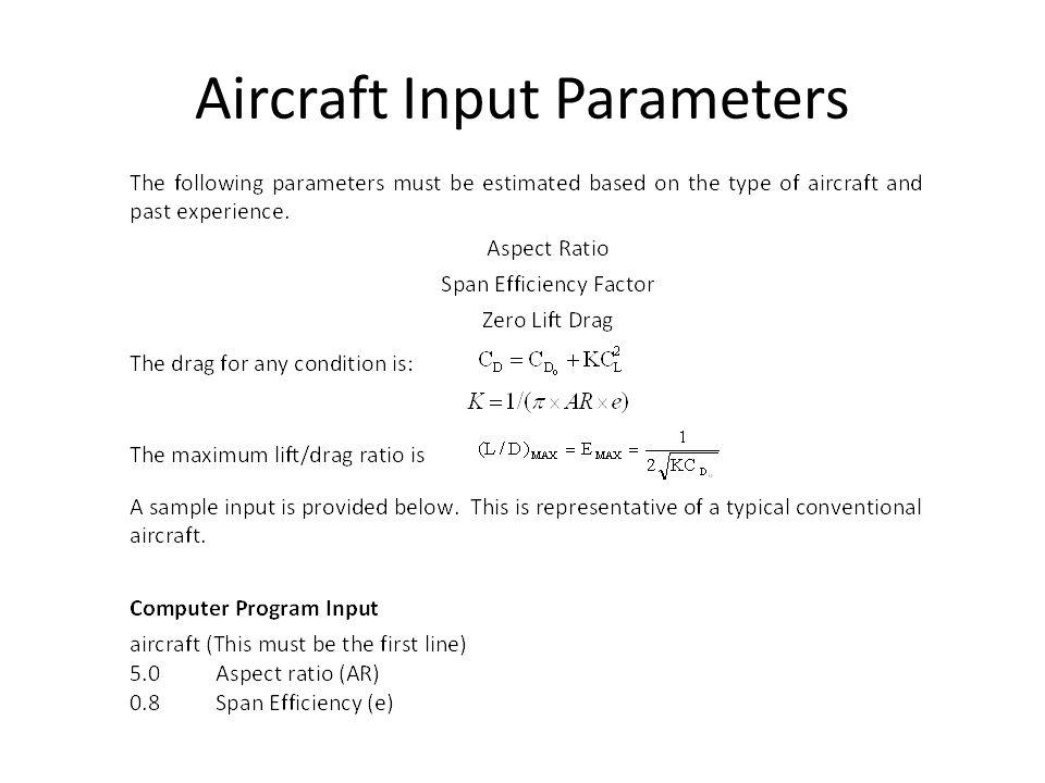 Aircraft Input Parameters
