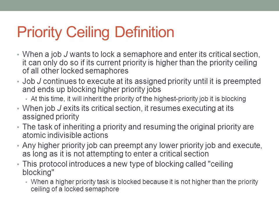 Priority Ceiling Definition
