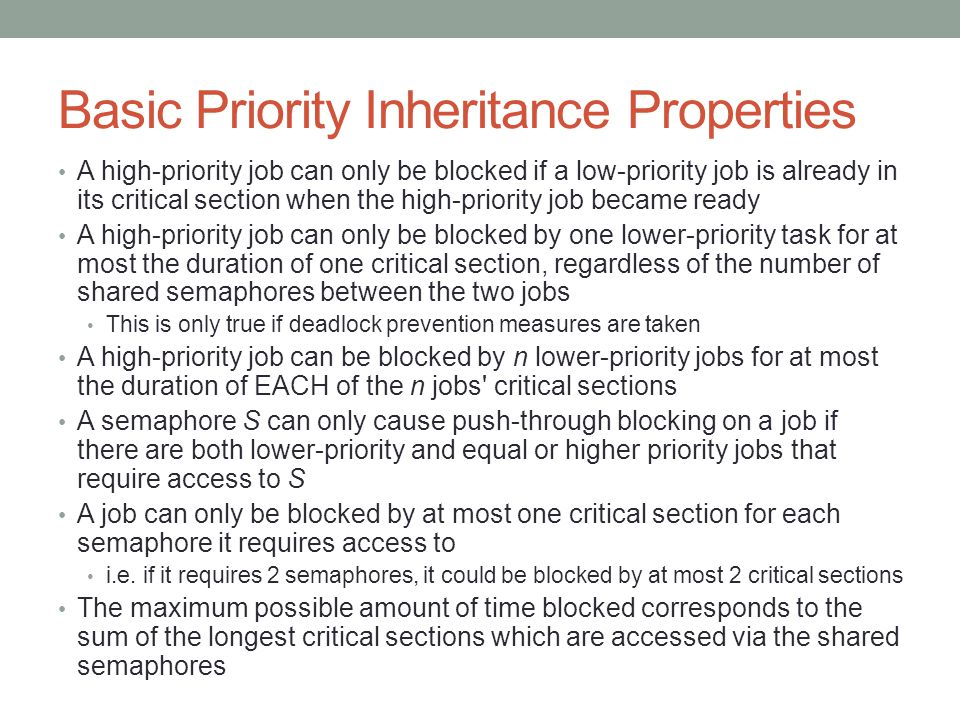 Basic Priority Inheritance Properties