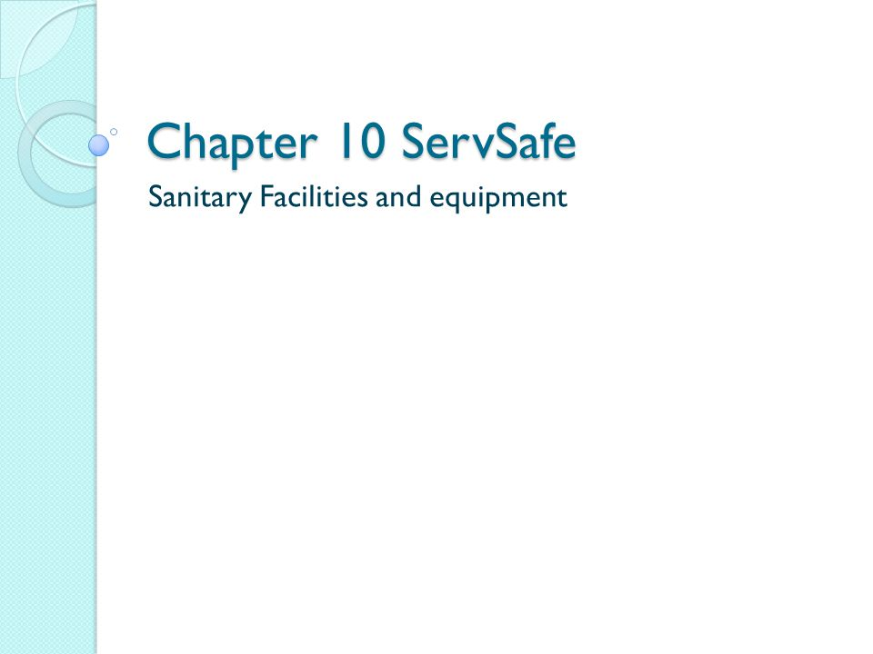 Sanitary Facilities and equipment