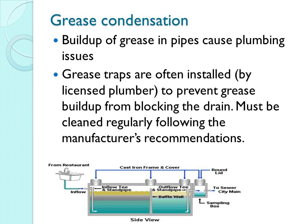 Grease condensation Buildup of grease in pipes cause plumbing issues