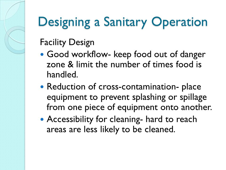 Designing a Sanitary Operation