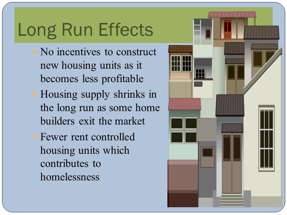 Long Run Effects No incentives to construct new housing units as it becomes less profitable.