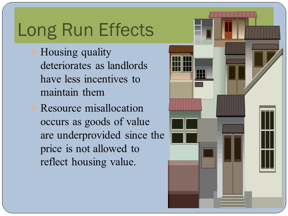 Long Run Effects Housing quality deteriorates as landlords have less incentives to maintain them.