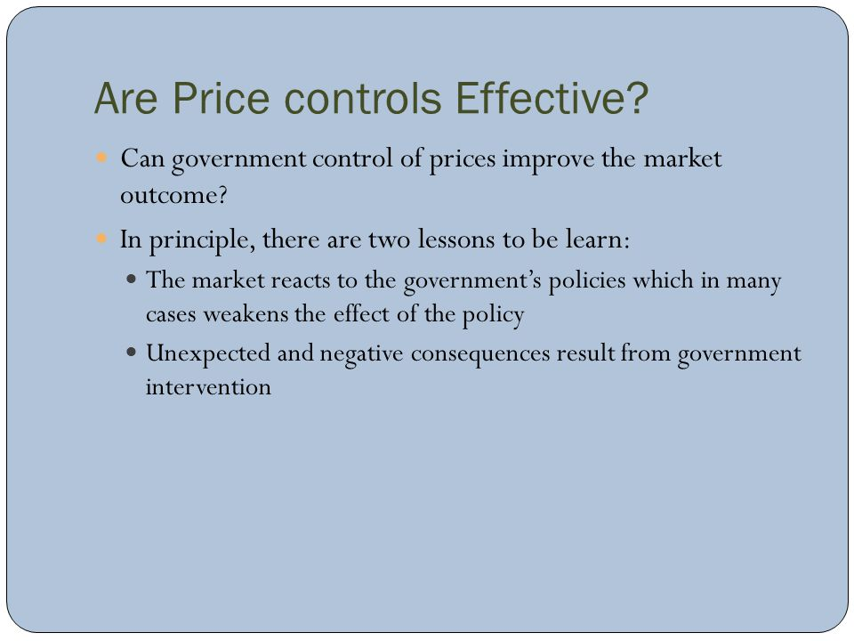 Are Price controls Effective
