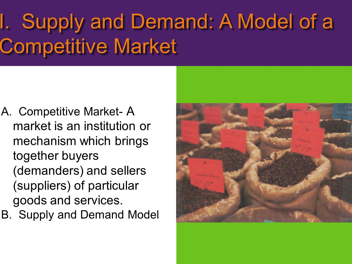 I. Supply and Demand: A Model of a Competitive Market