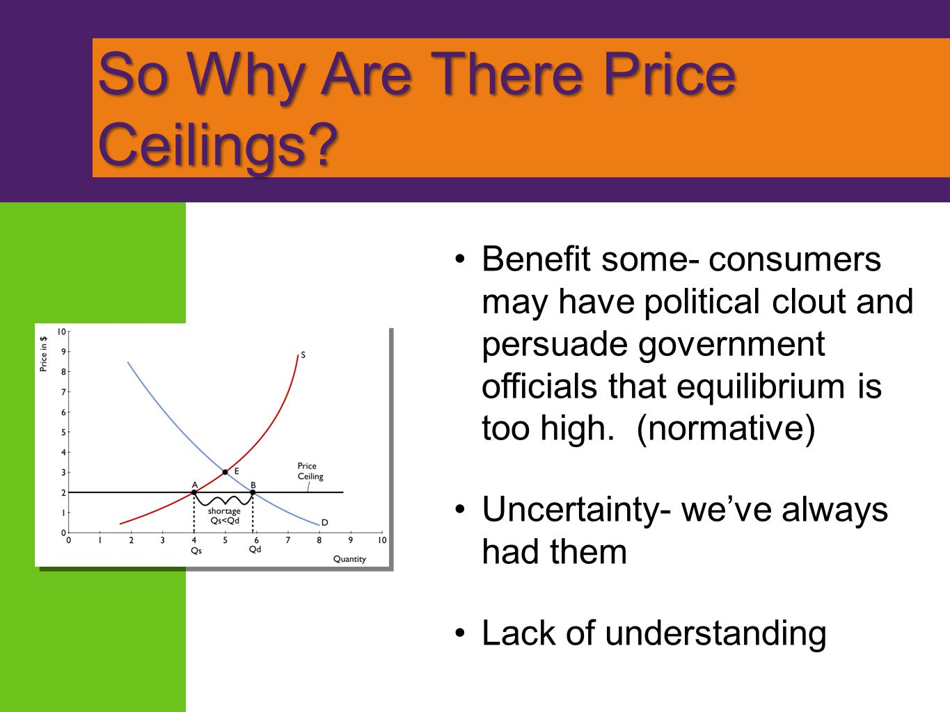So Why Are There Price Ceilings