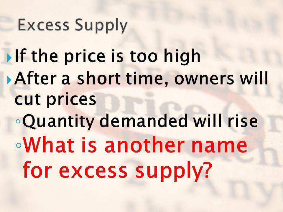 What is another name for excess supply