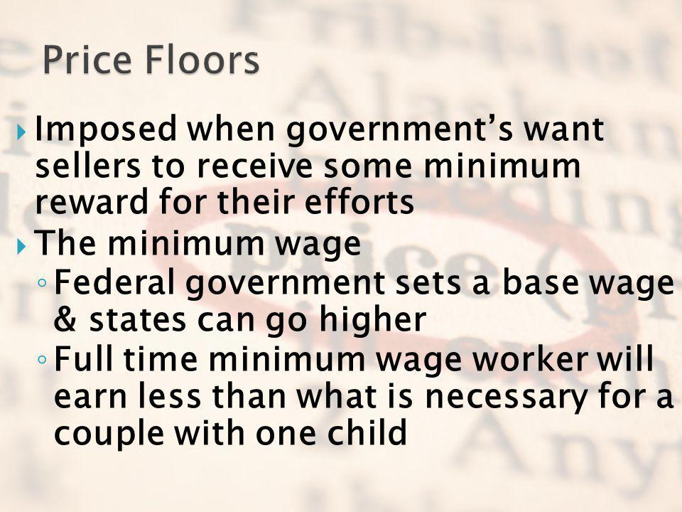 Price Floors Imposed when government's want sellers to receive some minimum reward for their efforts.