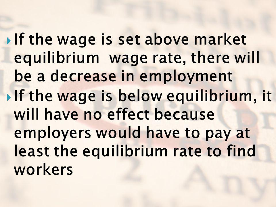 If the wage is set above market equilibrium wage rate, there will be a decrease in employment