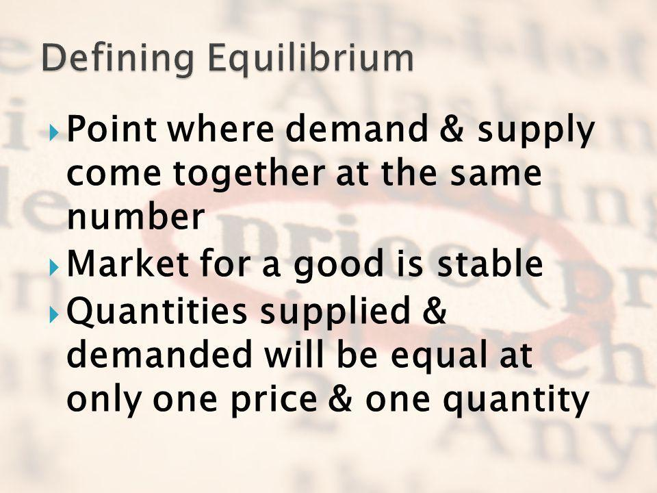 Defining Equilibrium Point where demand & supply come together at the same number. Market for a good is stable.