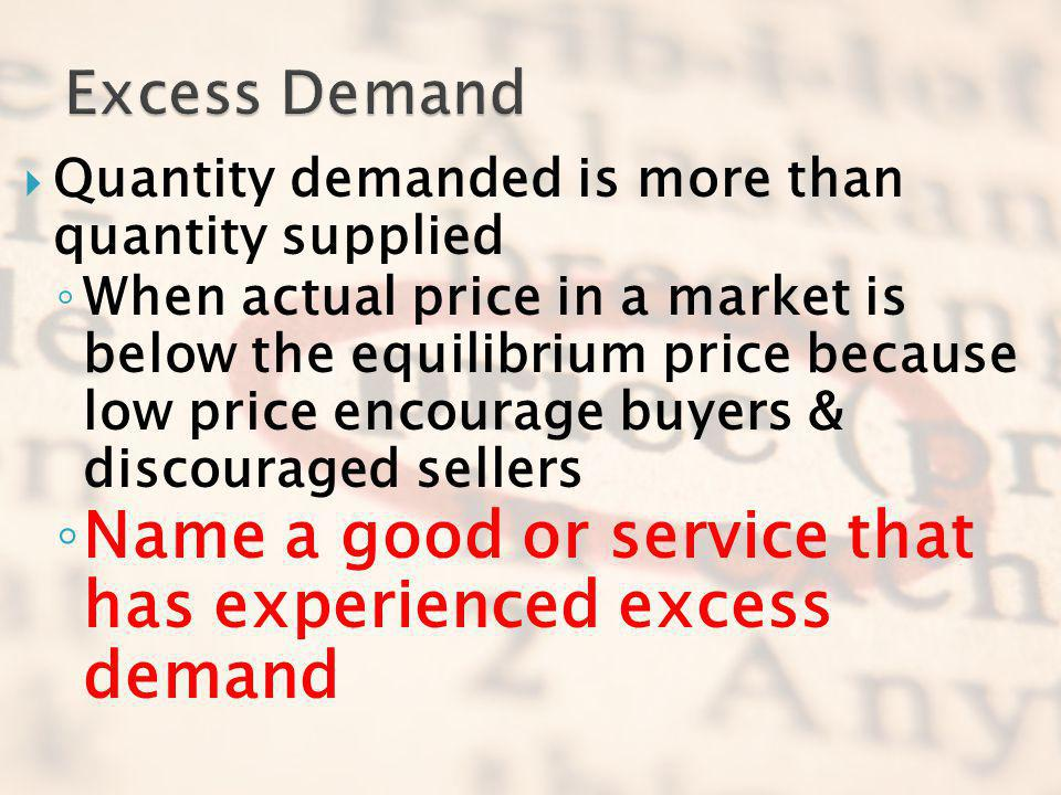 Name a good or service that has experienced excess demand