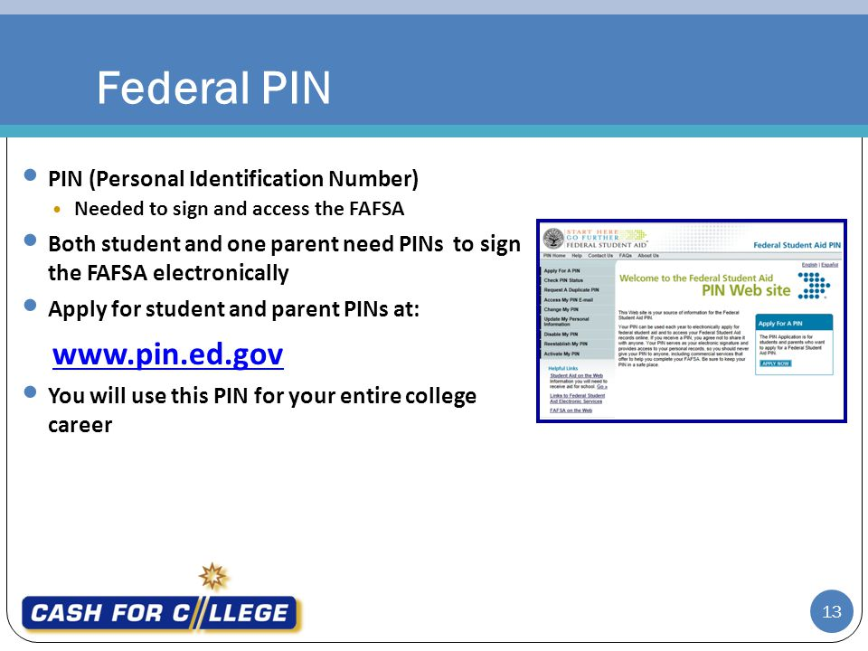 Federal PIN www.pin.ed.gov PIN (Personal Identification Number)