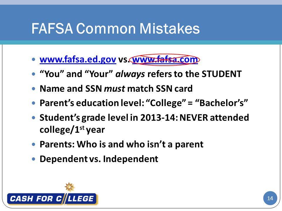 FAFSA Common Mistakes www.fafsa.ed.gov vs. www.fafsa.com