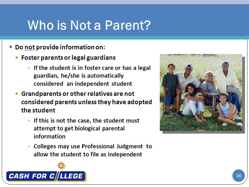 Who is Not a Parent Do not provide information on: