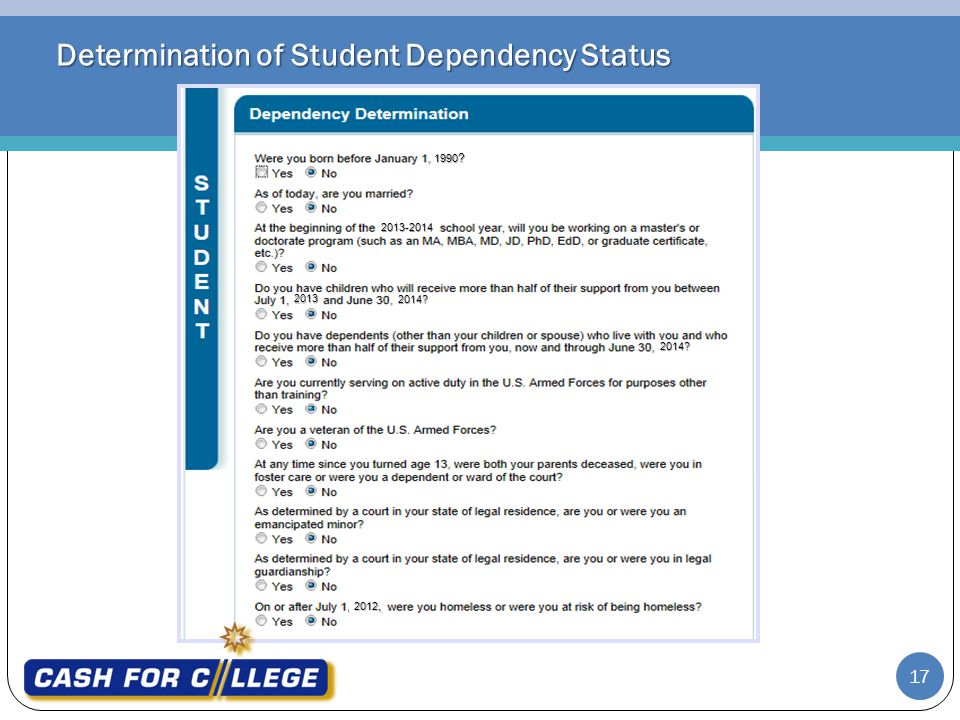 Determination of Student Dependency Status