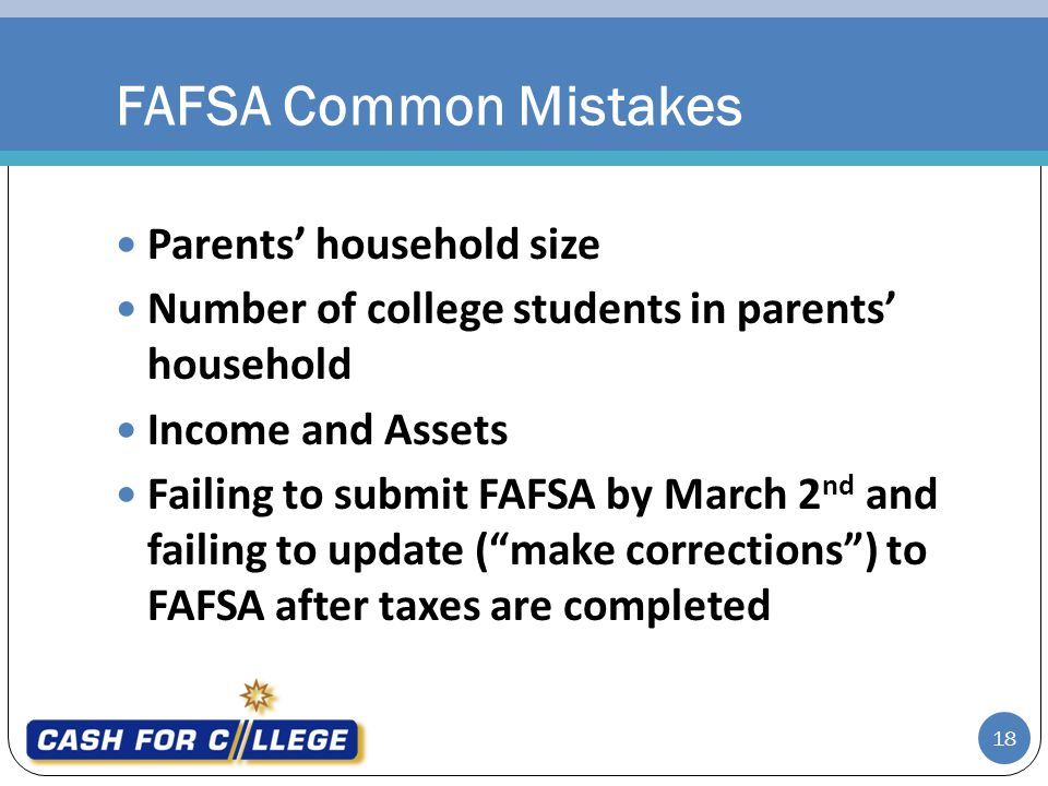 FAFSA Common Mistakes Parents' household size