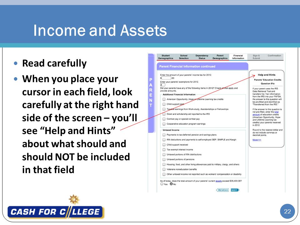 Income and Assets Read carefully
