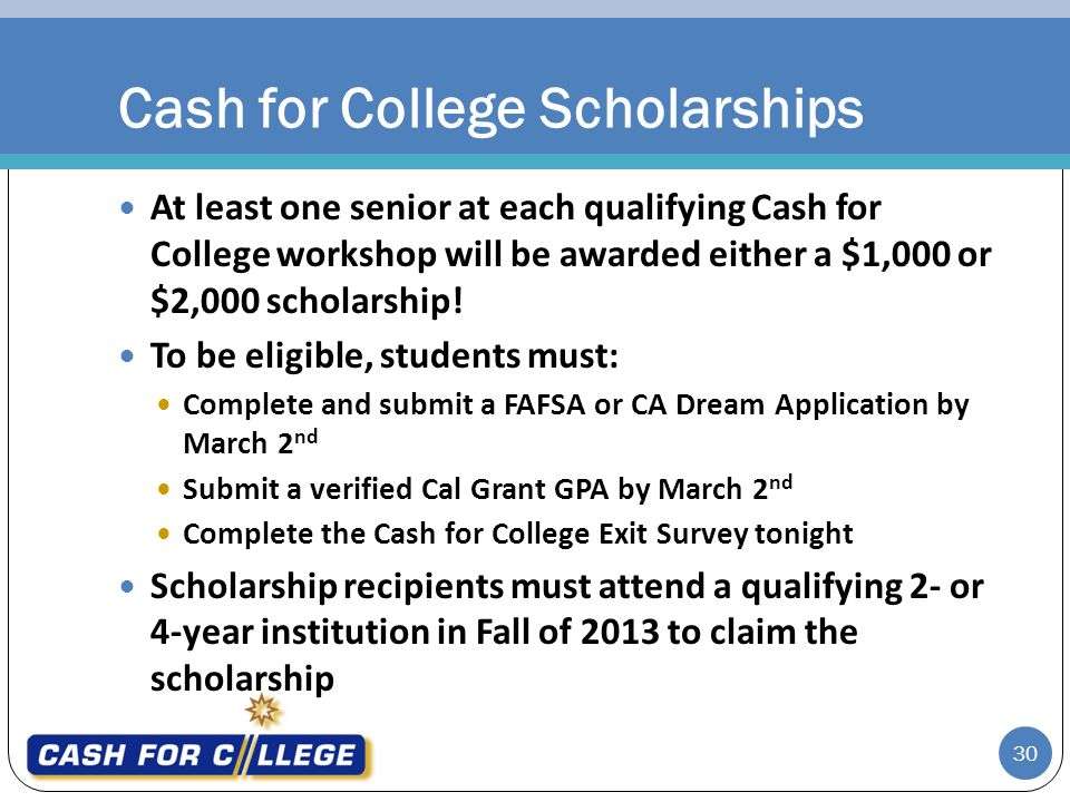 Cash for College Scholarships