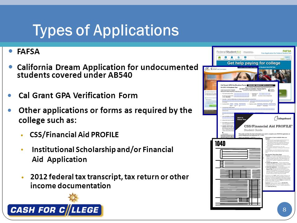 Types of Applications FAFSA